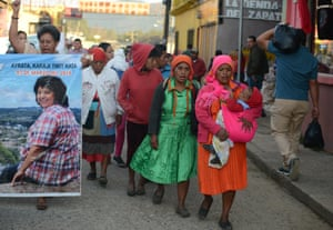 Indigenous women march to demand justice for Berta Caceres in La Esperanza, a year after she was murdered