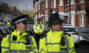 Police at the scene in Harlesden Road, London, last Thursday