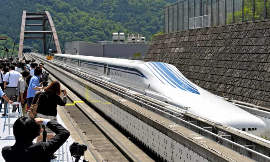 The new L0 series train, built to run on the forthcoming Tokyo-to-Osaka route at speeds of up to 500km/h.