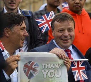 Andy Wigmore celebrates with Arron Banks in Westminster on 24 June 2016, the day after the UK voted to leave the EU.
