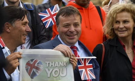 Andy Wigmore, left, and Arron Banks celebrating in Westminster after the Brexit referendum.