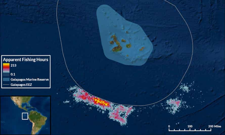 Satellite images of a cluster of ships next to the exclusion zone around the Galápagos