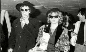 Vivien Goldman with John Lydon at Heathrow, 1978.