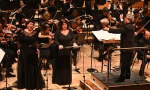 Aga Mikolaj, Christa Mayer and Semyon Bychkov with the BBC Symphony Orchestra at the Barbican on Saturday.