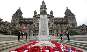 The two-minute silence at the Cenotaph monument in George Square, Glasgow