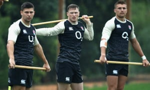 Chris Ashton, centre with Ben Youngs and Henry Slade, trains in Portugal.