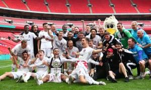 AFC Fylde's squad enjoy their victory.