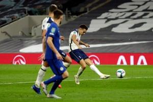 Tottenham Hotspur's Sergio Reguilon shoots towards goal.