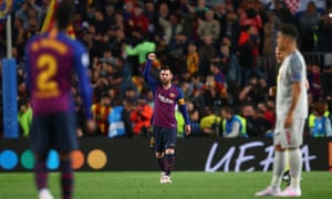 Lionel Messi of FC Barcelona celebrates after scoring to make it 3-0.