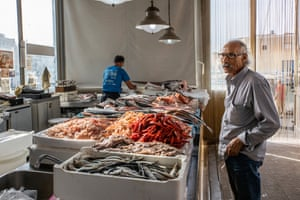 The fishmarket of Mazara del Vallo with red prawns on sale