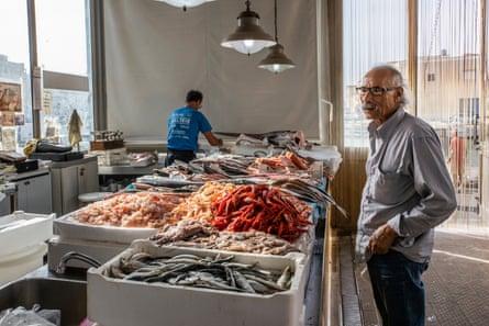 The fishmarket of Mazara del Vallo with red prawns on sale