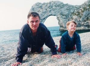 Andrew Kötting with his daughter Eden in his 1996 debut Gallivant.