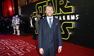 """Simon Pegg who has a cameo role """"as a rather troll-like.. an angry-looking oaf"""" arrives in Leicester Square"""