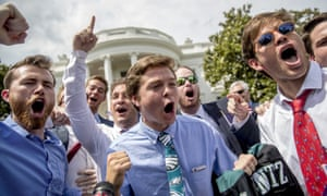 Philadelphia Eagles fans sing during the Celebration of America event on the South Lawn of the White House on Tuesday.