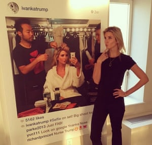 Seller's remorse … Ivanka Trump posing in front of the work now denounced as fake.