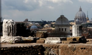 View of Rome from the remains of the so-called House Of Augustus on Palatine hill, near where the Lupercal cave should be located.