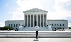 Bill Christeson protests outside the supreme court in Washington DC on Thursday.
