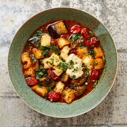 Yotam Ottolenghi's roast tomato and aubergine soup with anchovy aioli.