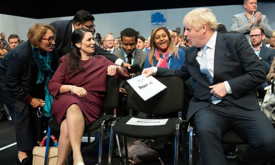 Boris Johnson and Priti Patel at the Conservative party conference in Manchester, October 2021