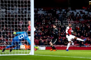 Alexandre Lacazette of Arsenal scores a goal to make it 1-0.