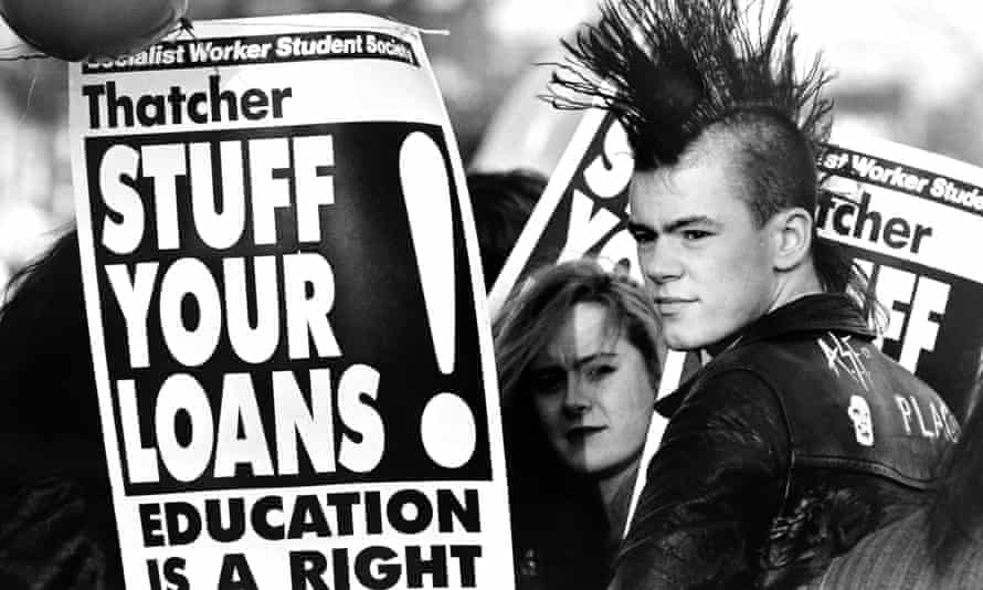 Students protest in Brighton in 1989 against Thatcher's student loans plan.