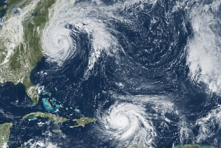 Hurricanes Katia (left), Irma (center) and Jose (right) in September 2017 – the first time on record that three major hurricanes made landfall at the same time in the Caribbean.