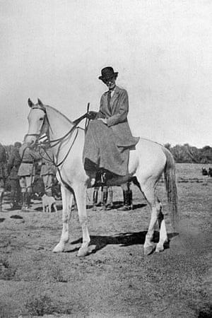Gertrude Bell, on horseback in Baghdad, Iraq