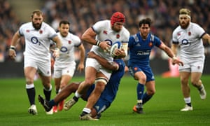 James Haskell drives forward against France in this years Six Nations – he won the competition three times as a player.