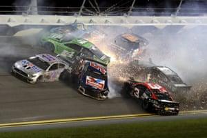 A crash on the final lap of a Nascar Cup Series auto race at Daytona International Speedway