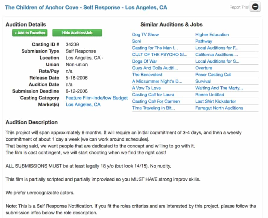 Screenshot of the casting call for Lonelygirl15, then codenamed 'The Children of Anchor Cove'.