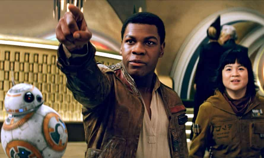 BB-8, John Boyega and Kelly Marie Tran in the 2017 film Star Wars: The Last Jedi.