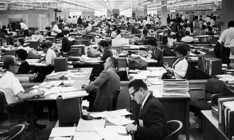 Workers in an office in California in 1953