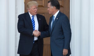 Donald Trump shakes hands with Mitt Romney after their meeting in Bedminster, New Jersey last week.