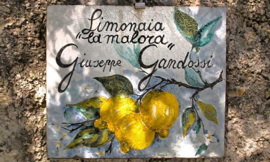 Sign for Limonaia la Malora, on the western shore of Lake Garda, Italy