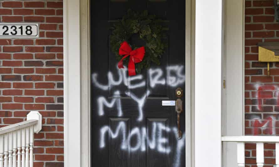 Graffiti on a door of the home of Senate majority leader Mitch McConnell in Louisville, Kentucky