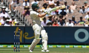 Tim Paine becomes the third Australia batsman to play on to his stumps on the second morning of the fourth Test at the MCG.