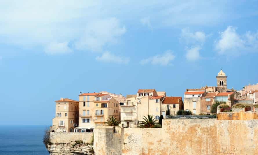 Bonifacio on the Island of CorsicaThe historic district of Bonifacio was built up on steep cliffs above the Mediterranean sea on the Island of Corsica, France.