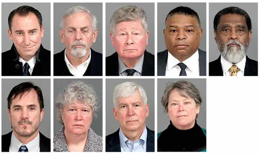 The nine former officials charged. Top row from left: Jarrod Agen, Gerald Ambrose, Richard Baird, Howard Croft, Darnell Earley. Bottom row from left: Nicolas Lyon, Nancy Peeler, Rick Snyder, and Eden Wells.