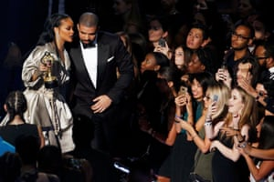 Drake and Rihanna share a private moment after the rapper presented her with the Michael Jackson Video Vanguard Award
