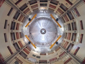 The first piece of the Iter tokamak being lowered into place.