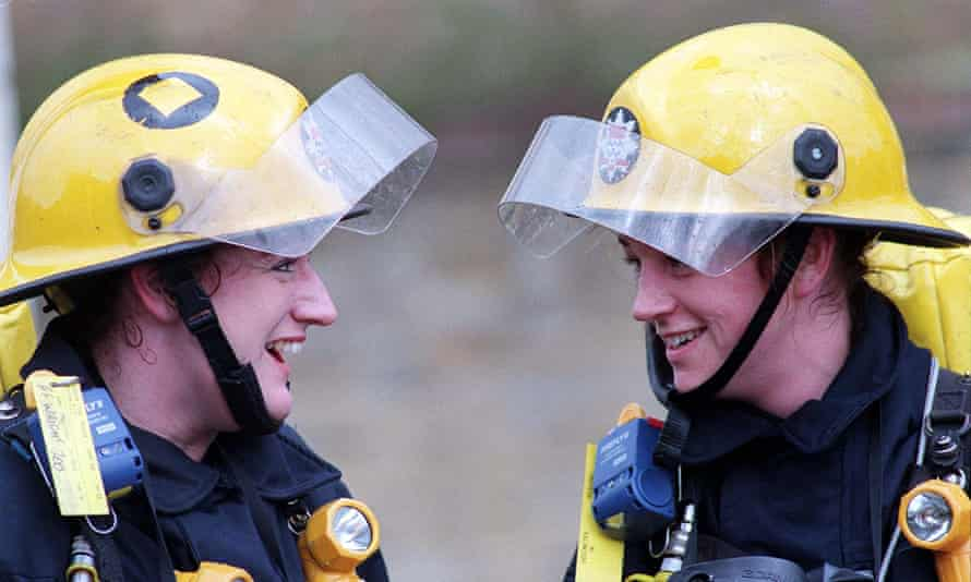 Two female firefighters