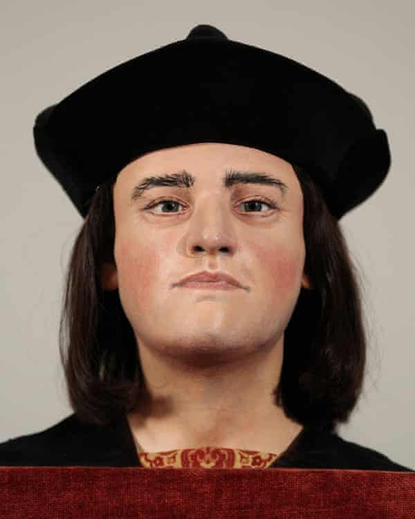 The face of King Richard III, the last Plantagenet king, at the Society of Antiquaries in London.