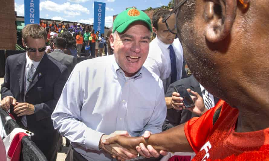 The Democratic vice-presidential candidate, Tim Kaine, shakes hands with supporters after speaking at Florida A&M University in Tallahassee.