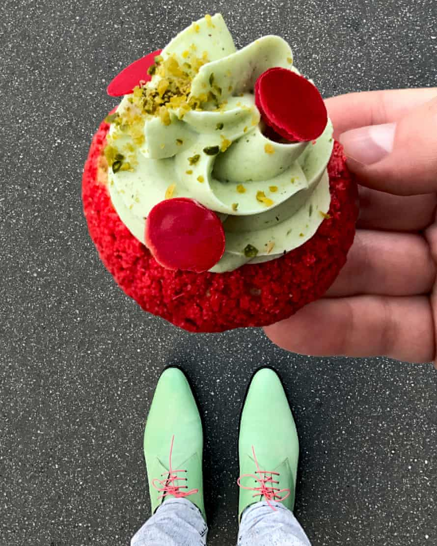 green shoes and a green cake