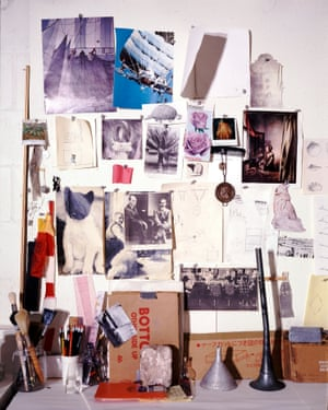 Rauschenberg's 'muse wall', a collection of objects and images that inspired him, in his print shop, Captiva, Florida, around 1979.