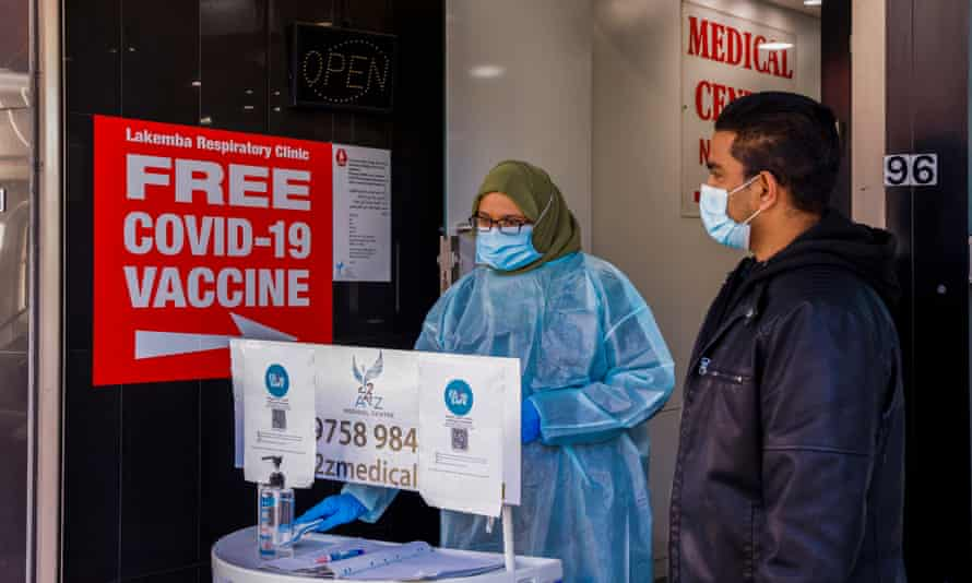 A medical centre in Lakemba in south-west Sydney offers Covid vaccines on Thursday.