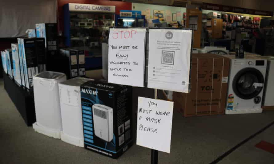 Covid-safe messaging at the front of Bi-Rite Electrical and Furniture House in Gilgandra