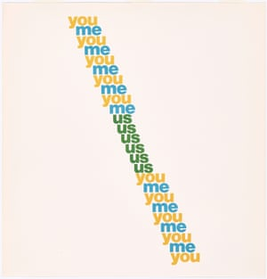 You/Me Ian Hamilton Finlay (Scottish, 1925–2006) Lithograph from The Blue and the Brown Poems (New York: Atlantic Richfield Company & Jargon Press Concrete Poetry: Words and Sounds in Graphic Space GETTY CENTER, LOS ANGELES March 28 - July 30He eventually created Little Sparta, a garden in the Pentland Hills near Edinburgh featuring 275 of his artworks