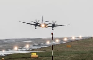 A plane lands in high wind at Leeds Bradford airport