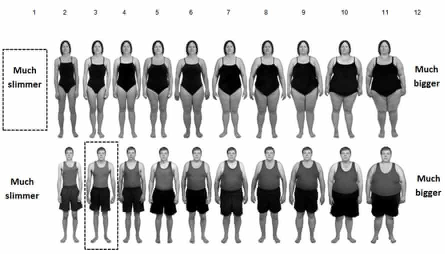 Mean mannequin sizes rated using the BMI-based body size guide rating scale.